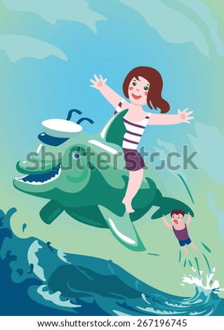 Boy and girl riding on a dolphin. Vector illustration