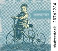 boy on retro bicycle and grunge  textures with space for your text, vector illustration . - stock vector