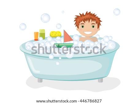 boy taking bath on white background stock vector 446786827 rh shutterstock com Dog in Bathtub Clip Art Dog in Bathtub Clip Art