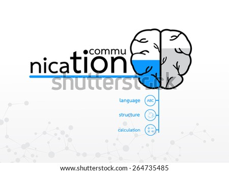 brain left concept.  communication language calculation abstract infographic   - stock vector