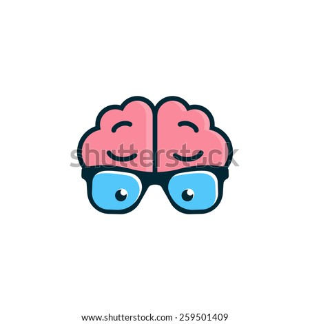 Brain with glasses. Science logo - stock vector