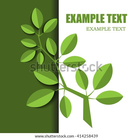 branch with green leaves on white, material design layout  - stock vector