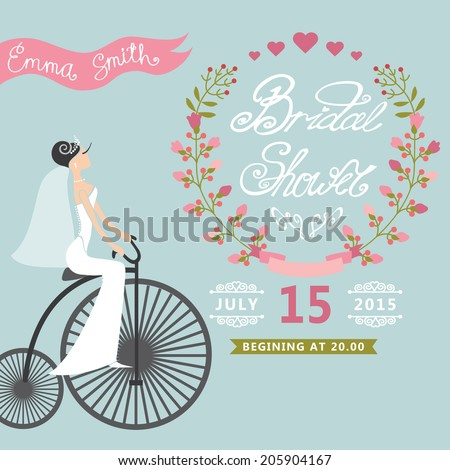 Bridal shower card bride on retro stock vector 205904167 shutterstock bridal shower card with bride on retro bicycle and floral wreathntage wedding invitation filmwisefo