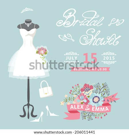 Bridal shower card with floral elements.The composition of wedding dresses ,Bridal veil, bouquet,handbags and high heel shoes.Cute wedding invitation.Fashion vector Illustration - stock vector