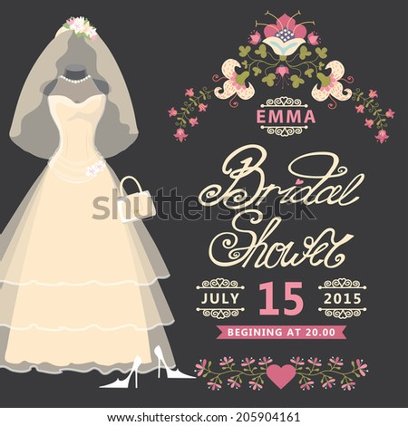 Bridal shower invitation  card with Vintage wedding dress and flowers.The composition of wedding dresses,Bridal veil,handbag and high heel shoes.Vintage wedding invitation.Fashion vector Illustration - stock vector