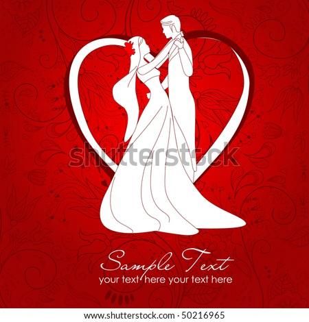 bride and groom - stock vector