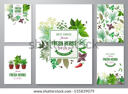 5 bright backgrounds with fresh herbs and store emblems