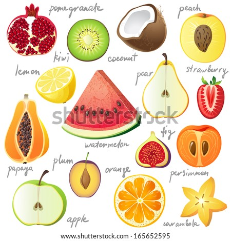 15 bright fruit pieces - stock vector
