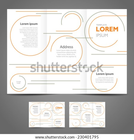 brochure design template - circle lines - stock vector