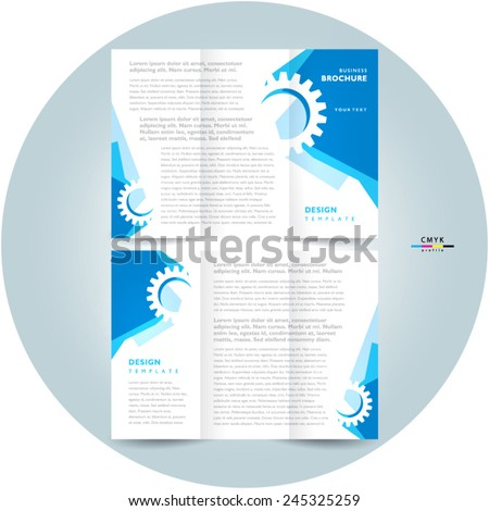 brochure design template tri-fold abstract gear - stock vector