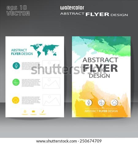 brochure, flyer watercolor template - stock vector