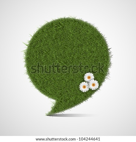 Bubble for speech made of stylized green grass - stock vector