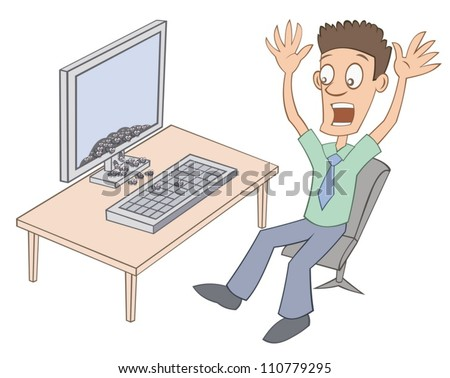 Bugs are jumping from computer - stock vector