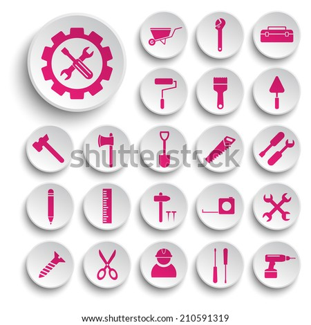 Building and tools  icons vector collection - stock vector