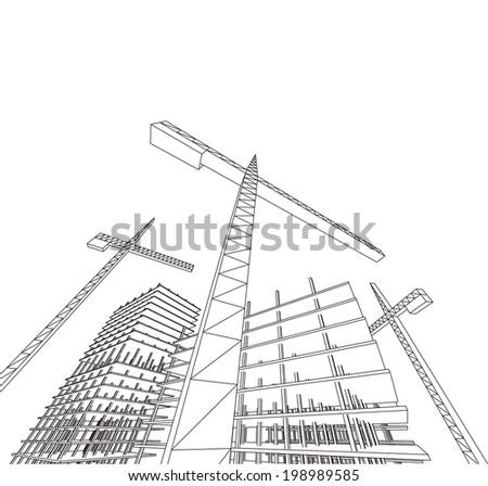 building construction - stock vector