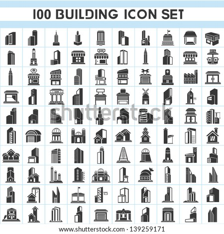 100 building icons set, real estate icons set, vector - stock vector