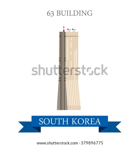 63 building in Seoul South Korea. Flat cartoon style historic sight showplace attraction web site vector illustration. World countries cities vacation travel sightseeing Asia collection. - stock vector
