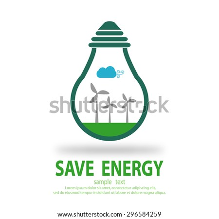 Bulb light with wind turbine inside, Eco green energy, save energy , Save the World, Vector Illustration - stock vector