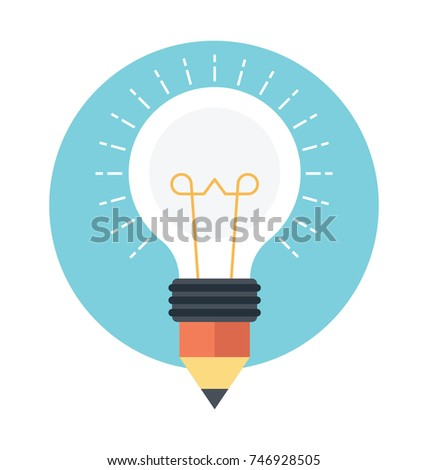Bulb pencil idea, education and business concept design, flat vector illustration
