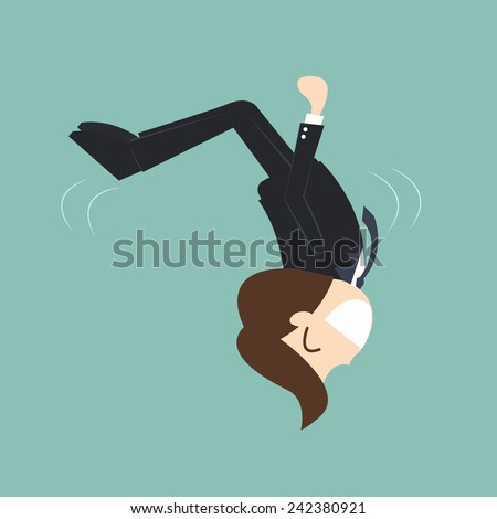 ?Business agility concept - businessman Somersault - stock vector