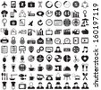 100 Business and food icons set, vector format - stock vector