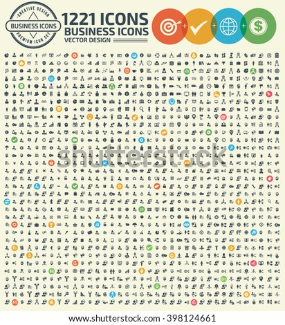 1221 Business and office icon set,clean vector - stock vector