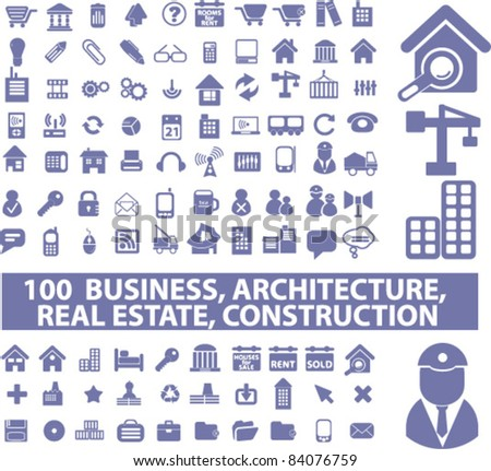 100 business, architecture, construction icons, signs, vector illustrations - stock vector