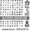 100 business & architecture, real esate, construction, icons, signs, vector illustration - stock vector