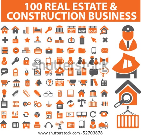 100 business, architecture, real estate, construction signs. vector - stock vector