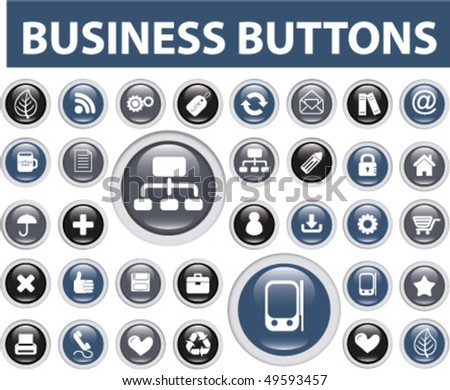30 business buttons. vector - stock vector