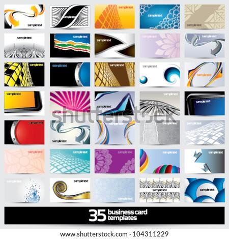 35 business card templates - horizontal - stock vector