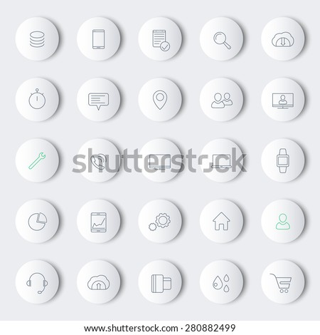 25 business, commerce, line round modern icons, vector illustration, eps10, easy to edit - stock vector