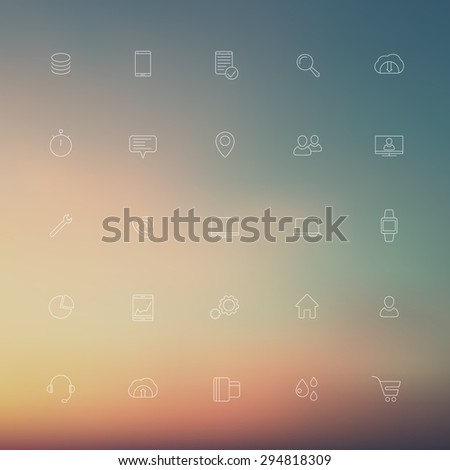 25 business, commerce, line white icons on blur background, eps10, easy to edit