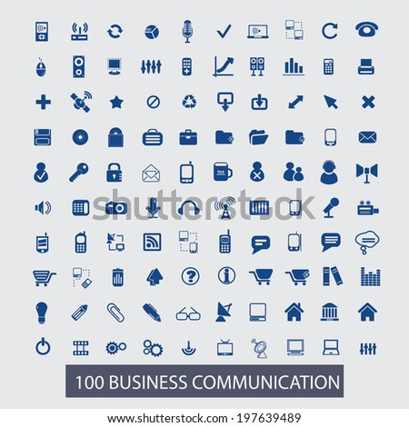 100 business communication icons set, vector - stock vector