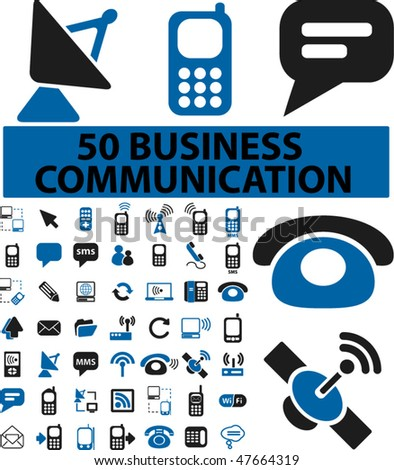 50 business communication signs. vector - stock vector