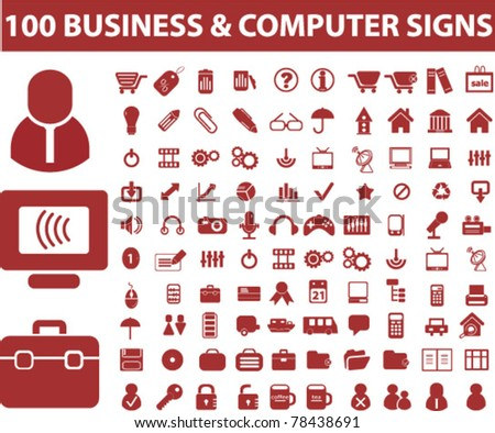 100 business & computer icons, signs, vector - stock vector