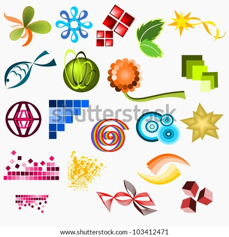 19 business elements - stock vector