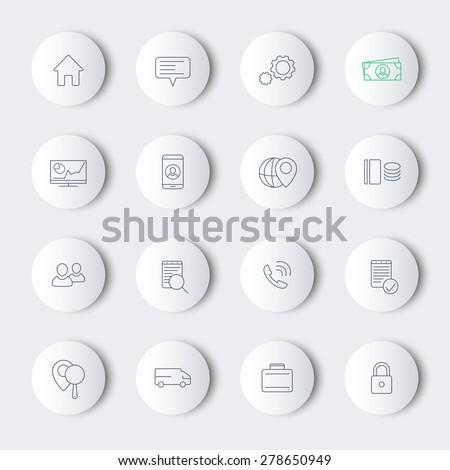 16 business, finance, enterprise line modern round icons, vector illustration, eps10, easy to edit - stock vector