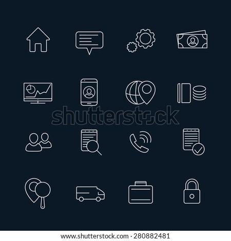 16 business, finance, enterprise line white icons, vector illustration, eps10, easy to edit - stock vector