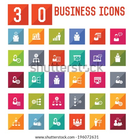 30 Business,Human resource icons,vector  - stock vector