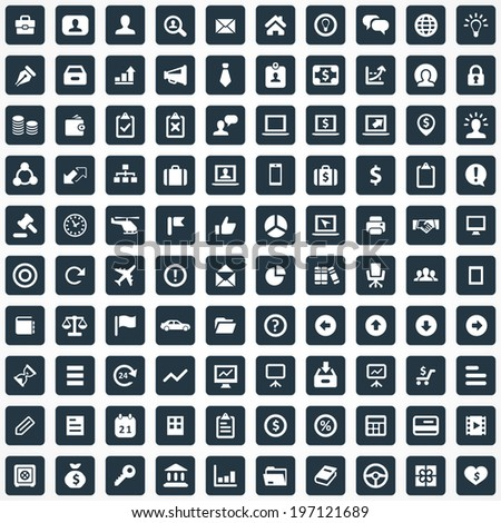 100 Business icons - stock vector