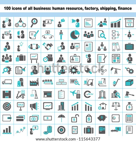 100 business icons, human resource, finance, logistic icon set