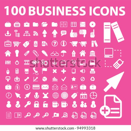 100 business icons, vector