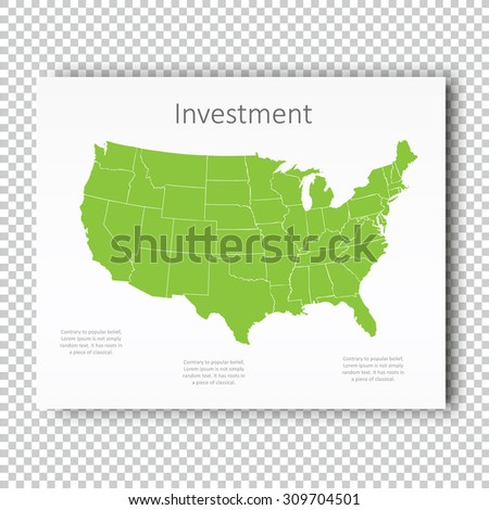 Business Investment USA Map Presentation slide Template, Business Layout design, Modern Style. Green color light version. For your next commercial projects or personal use. - stock vector