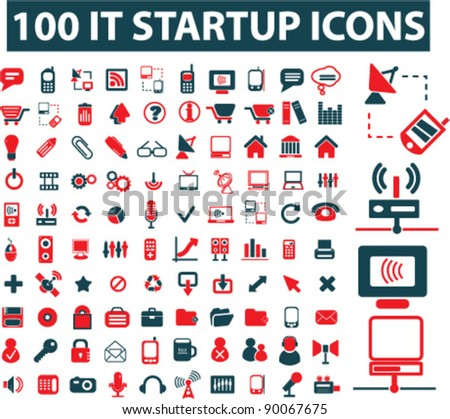 100 business it startup icons set, vector