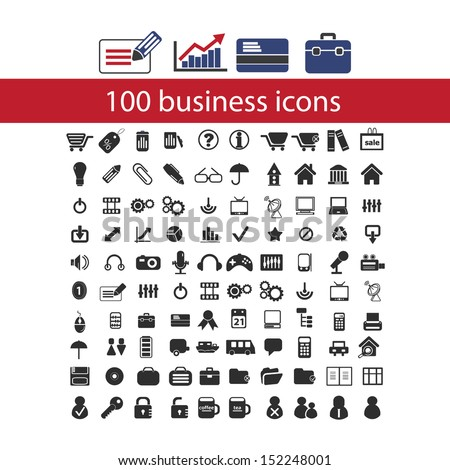 100 business, management icons set, vector - stock vector