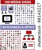 200 business & media icons, signs, vector illustrations set - stock vector