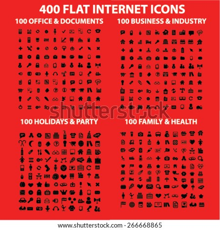 400 business, media, industry, office, family, holidays, event, party, management isolated icons, signs, illustrations concept website internet design set, vector - stock vector