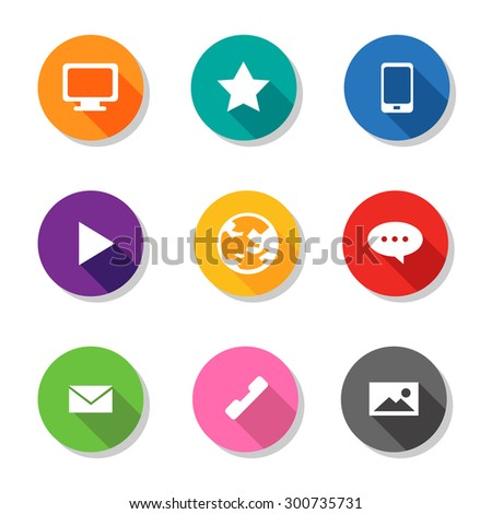 9 business monitor computer star mobilephone forward world speech mail call photo flat icon for presentation and infographic - stock vector