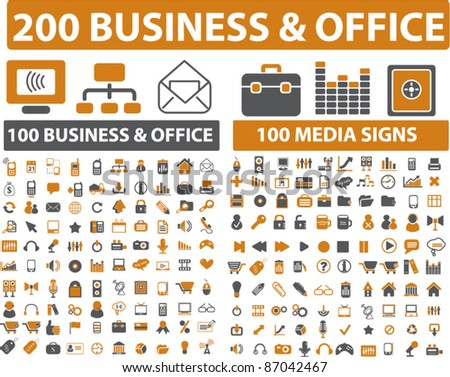 200 business & office icons, signs, vector - stock vector